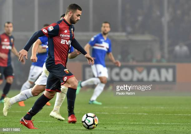Davide Biraschi of Genoa in action during the serie A match between UC Sampdoria and Genoa CFC at Stadio Luigi Ferraris on April 7 2018 in Genoa Italy