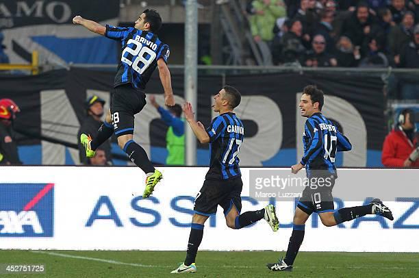 Davide Brivio of Atalanta BC celebrates after scoring the opening goal during the Serie A match between Atalanta BC and AS Roma at Stadio Atleti...