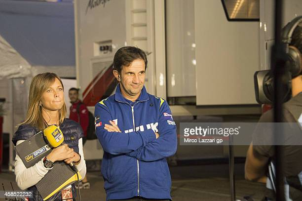 Davide Brivio of Italy and Suzuki Test Team speaks with journalist in paddock during the MotoGP of Valencia Previews at Ricardo Tormo Circuit on...