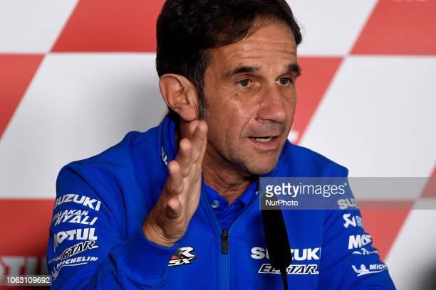 Davide Brivio of Italy and Team Suzuki MotoGP speaks during the Team Managers Press Conference during the MotoGP of Valencia Gran Premio Motul de la...