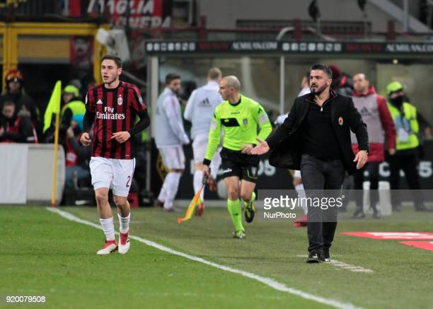 Davide Calabria and Gennaro Gattuso during the Italian Serie A football match between AC Milan and Sampdoria at the San Siro stadium in Milan on...