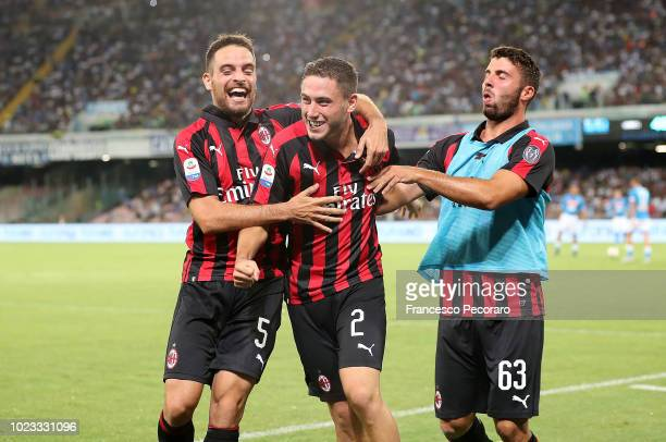 Davide Calabria and Patrick Cutrone Giacomo Bonaventura celebrate the 02 goal scored by Davide Calabria during the serie A match between SSC Napoli...