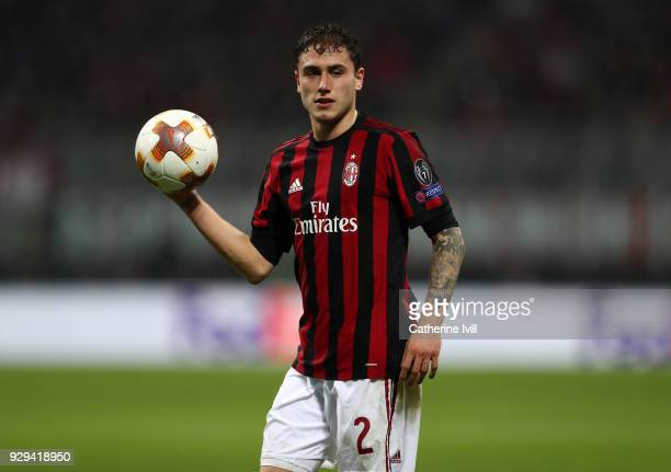 Davide Calabria of AC Milan during the UEFA Europa League Round of 16 match between AC Milan and Arsenal at the San Siro on March 8 2018 in Milan...
