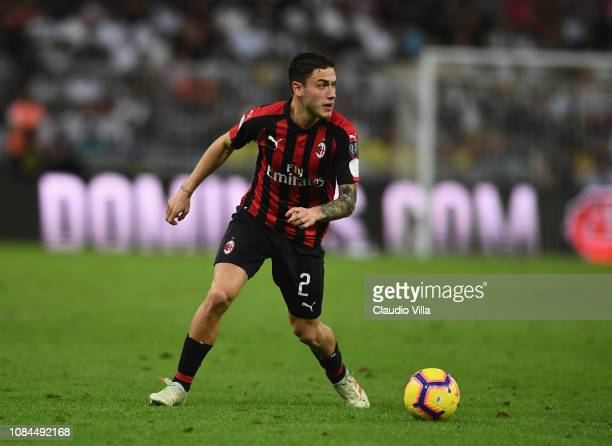 Davide Calabria of AC Milan in action during the Italian Supercup match between Juventus and AC Milan at King Abdullah Sports City on January 16 2019...
