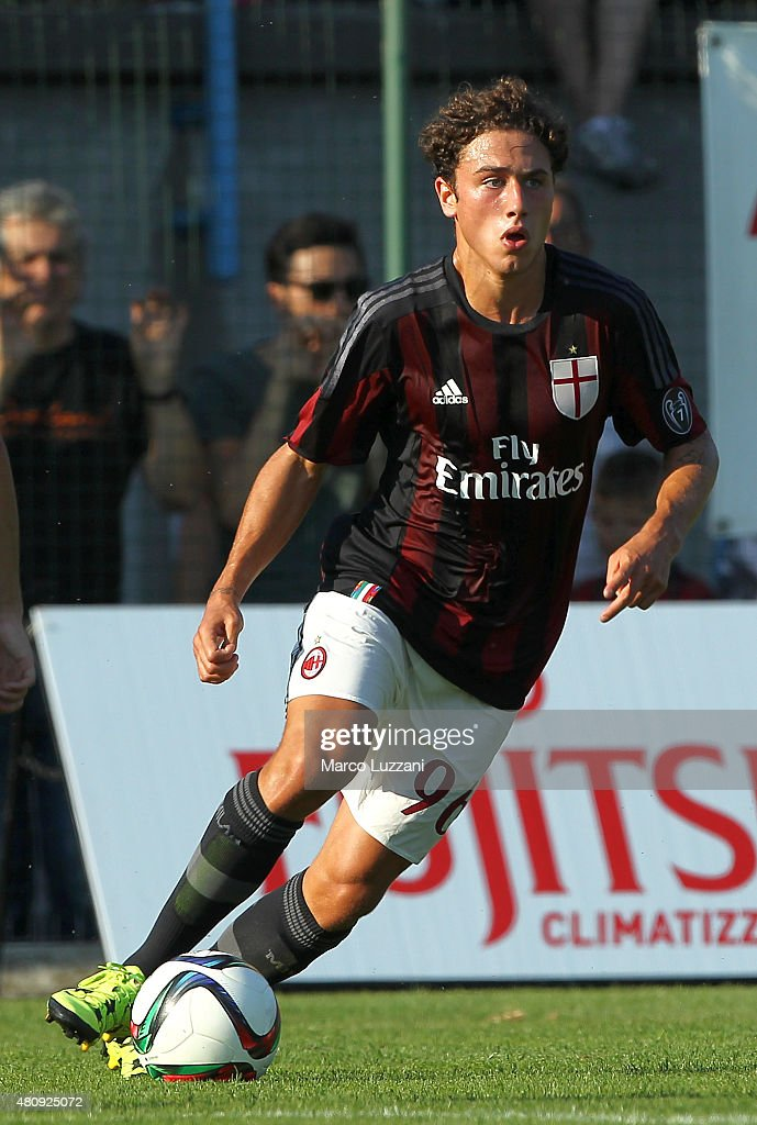 Davide Calabria of AC Milan in action during the preseason friendly match between AC Milan and Legnano on July 14, 2015 in Solbiate Arno, Italy.