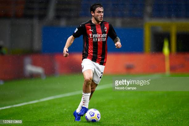 Davide Calabria of AC Milan in action during the Serie A football match between AC Milan and AS Roma The match ended 33 tie