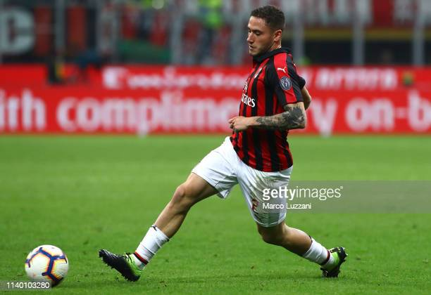 Davide Calabria of AC Milan in action during the Serie A match between AC Milan and Udinese at Stadio Giuseppe Meazza on April 2 2019 in Milan Italy