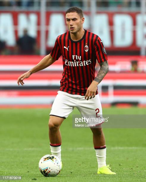 Davide Calabria of AC Milan in action during the Serie A match between AC Milan and Brescia Calcio at Stadio Giuseppe Meazza on September 1 2019 in...