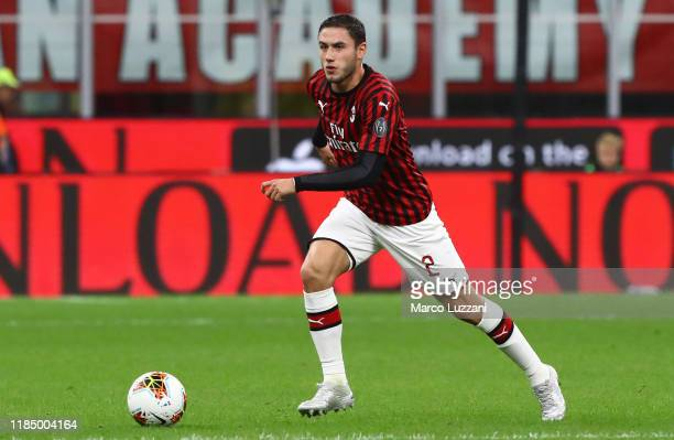 Davide Calabria of AC Milan in action during the Serie A match between AC Milan and SPAL at Stadio Giuseppe Meazza on October 31 2019 in Milan Italy