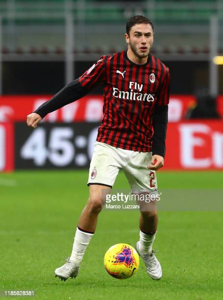 Davide Calabria of AC Milan in action during the Serie A match between AC Milan and SS Lazio at Stadio Giuseppe Meazza on November 3 2019 in Milan...