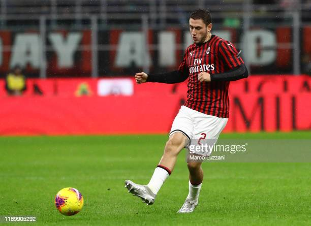 Davide Calabria of AC Milan in action during the Serie A match between AC Milan and SSC Napoli at Stadio Giuseppe Meazza on November 23 2019 in Milan...