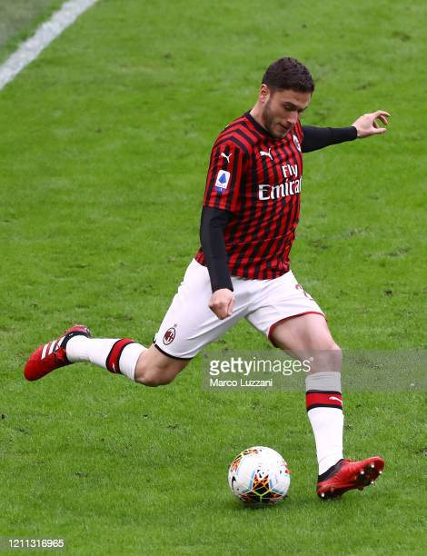 Davide Calabria of AC Milan in action during the Serie A match between AC Milan and Genoa CFC at Stadio Giuseppe Meazza on March 8 2020 in Milan Italy