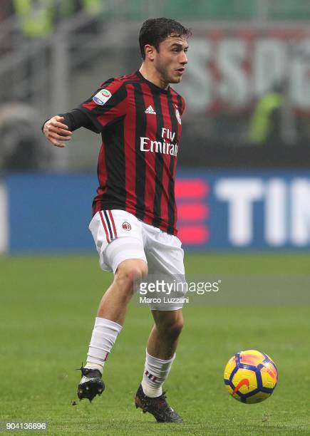 Davide Calabria of AC Milan in action during the serie A match between AC Milan and FC Crotone at Stadio Giuseppe Meazza on January 6 2018 in Milan...
