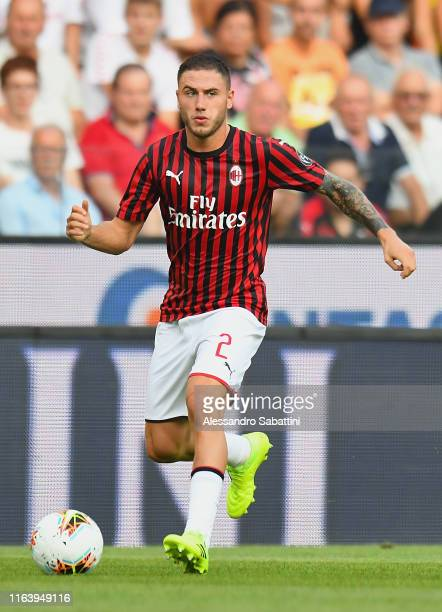 Davide Calabria of AC MIlan in action during the Serie A match between Udinese Calcio and AC Milan at Stadio Friuli on August 25 2019 in Udine Italy