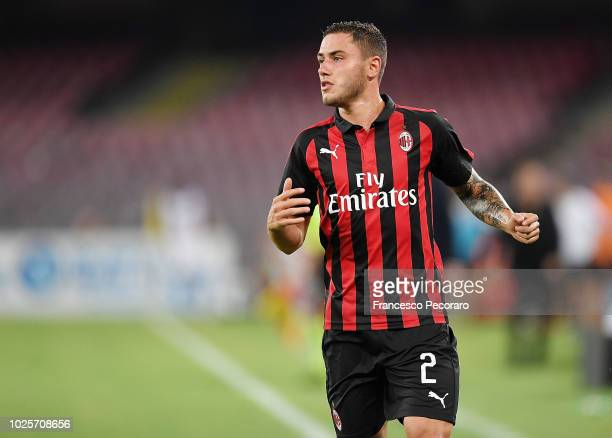 Davide Calabria of AC Milan in action during the serie A match between SSC Napoli and AC Milan at Stadio San Paolo on August 25 2018 in Naples Italy