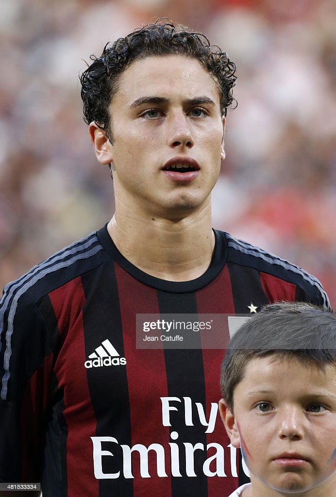 Davide Calabria of AC Milan looks on before the friendly match between Olympique Lyonnais (OL) and AC Milan (Milan AC) at Stade de Gerland on July 18, 2015 in Lyon, France.