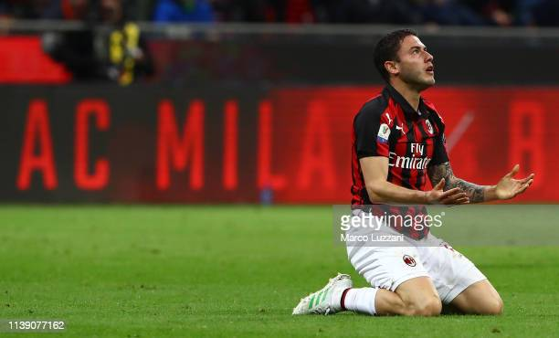 Davide Calabria of AC Milan reacts to a missed chance during the TIM Cup match between AC Milan and SS Lazio at Stadio Giuseppe Meazza on April 24...
