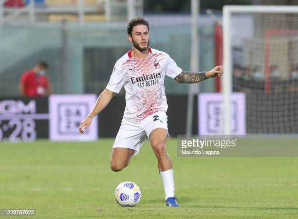 Davide Calabria of Milan during the Serie A match between FC Crotone and AC Milan at Stadio Comunale Ezio Scida on September 27, 2020 in Crotone,...