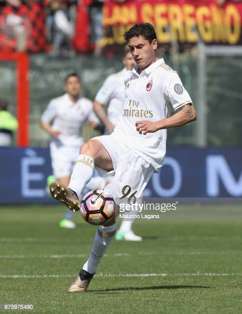 Davide Calabria of Milan during the Serie A match between FC Crotone and AC Milan at Stadio Comunale Ezio Scida on April 30 2017 in Crotone Italy