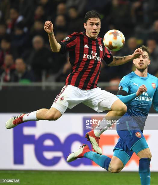 Davide Calabria of Milan during UEFA Europa League Round of 16 match between AC Milan and Arsenal at the San Siro on March 8 2018 in Milan Italy