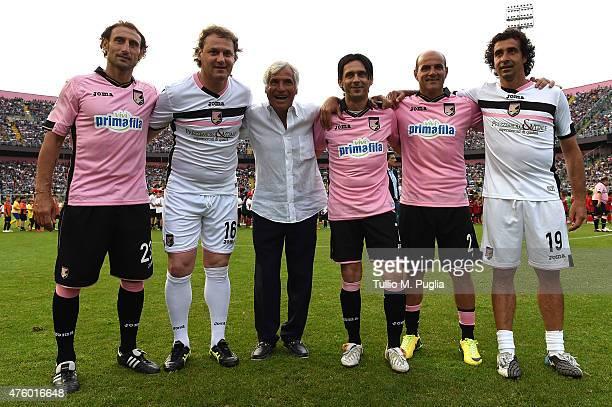 Davide Campofranco, Roberto Biffi, Ignazio Arcoleo, Tanino Vasari, Ciccio Galeoto and Giacomo Tedesco pose during the charity match between Atletico...