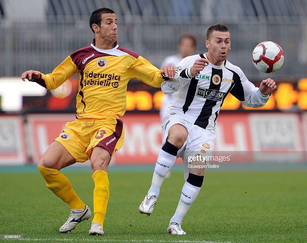 Davide Cartieri of AS Cittadella and Mirko Antenucci (R) of Ascoli Calcio compete for the ball during the Serie B match between Ascoli Calcio and AS Cittadelle at Stadio Cino e Lillo Del Duca on November 7, 2009 in Ascoli Piceno, Italy.