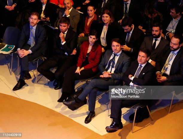 Davide Casaleggio Alessandro Di Battista Virginia Raggi Pasquale Tridico and Giuseppe Conte attend at the meeting organized by the M5S to present the...