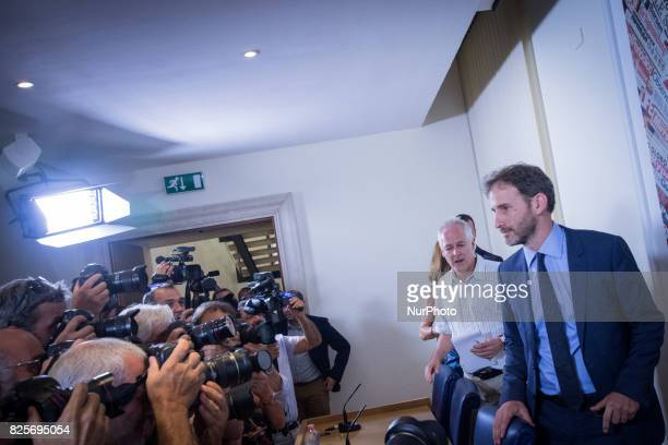 Davide Casaleggio during a press conference in Rome on August 2 2017 Italy's antiestablishment Five Movement party Davide Casaleggio and president of...