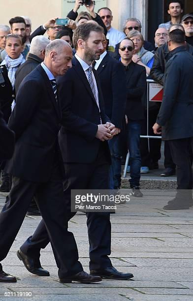 Davide Casaleggio leaves the church of Santa Maria delle Grazie attend the coffin of Gianroberto Casaleggio during Gianroberto Casaleggio funeral...
