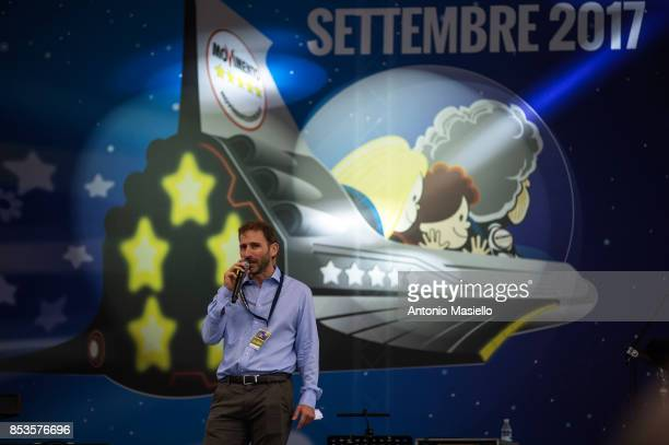 Davide Casaleggio speacks at Five Star Movement party's congress in Rimini on September 24 2017 Italy's populist Five Star Movement unveiled its...