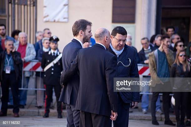Davide Casaleggio takes part to the funeral of Gianronberto Casaleggio at Santa Maria delle Grazie Cathedral in Milan on April 14th 2016 FiveStar...