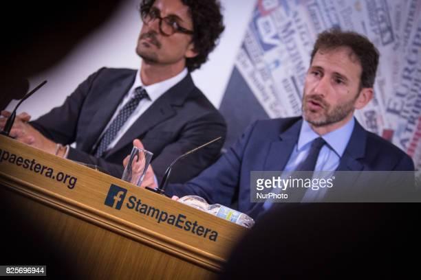 Davide CasaleggioDAnilo Toninelli during a press conference in Rome on August 2 2017 Italy's antiestablishment Five Movement party Davide Casaleggio...