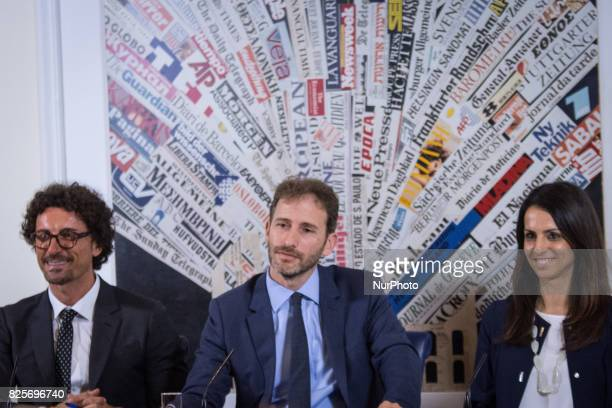 Davide CasaleggioDanilo ToninelliEnrica Sabatini during a press conference in Rome on August 2 2017 Italy's antiestablishment Five Movement party...