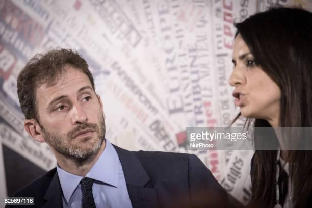 Davide CasaleggioEnrica Sabatini during a press conference in Rome on August 2 2017 Italy's antiestablishment Five Movement party Davide Casaleggio...
