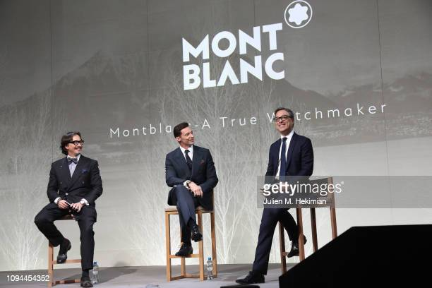 Davide Cerrato, Hugh Jackman and Montblanc CEO Nicolas Baretzki attend the Montblanc Conference at SIHH, at Palexpo on January 14, 2019 in Geneva,...