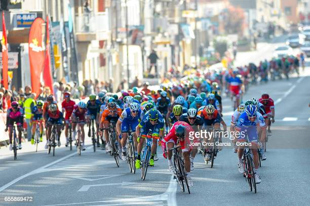Davide Cimolai of FDJ cycling team and Nacer Bouhanni of Cofidis Solutions Credit cycling team sprint before the finish line during the first stage...