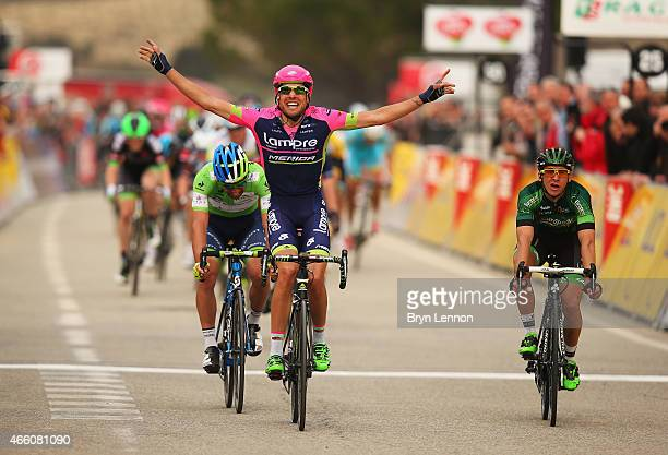 Davide Cimolai of Italy and Lampre-Merida celebrates winning stage five of the Paris - Nice cycling race between Saint-Etienne and Rasteau on March...