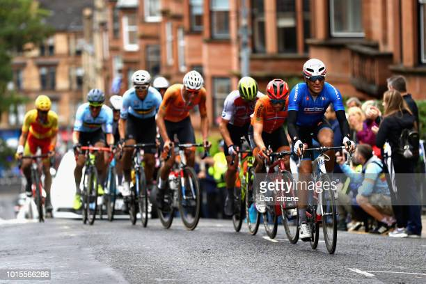 Davide Cimolai of Italy leads the leading pack in the Men's Road Race during the road cycling on Day Eleven of the European Championships Glasgow...