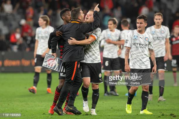Davide Del Giovine goalkeeping of the Wanderers has a go at Melbourne City's Dean Bouzanis after the round 7 A-League match between the Western...