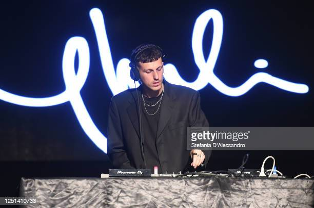 Davide Dev is seen performing at the Aniye By fashion show at Magazzini Generali on June 22, 2020 in Milan, Italy.