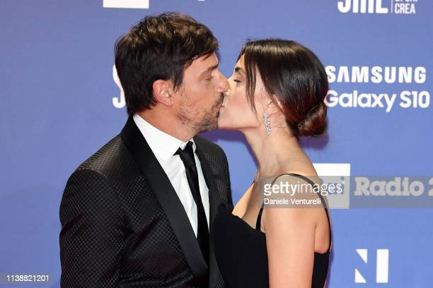 Davide Devenuto and Serena Rossi attends the 64. David Di Donatello awards on March 27, 2019 in Rome, Italy.
