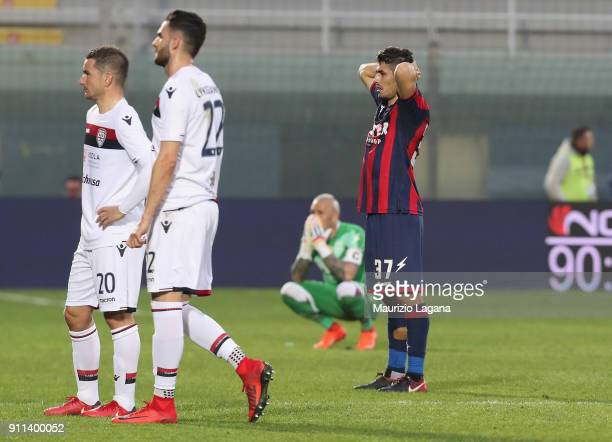 Davide Faraoni of Crotone shows his dejection during the serie A match between FC Crotone and Cagliari Calcio at Stadio Comunale Ezio Scida on...