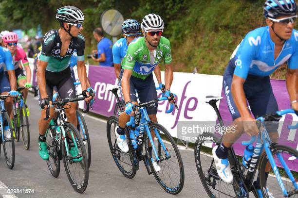 Davide Formolo of Italy and Team Bora Hansgrohe / Alejandro Valverde of Spain and Movistar Team Green Sprint Jersey / during the 73rd Tour of Spain...
