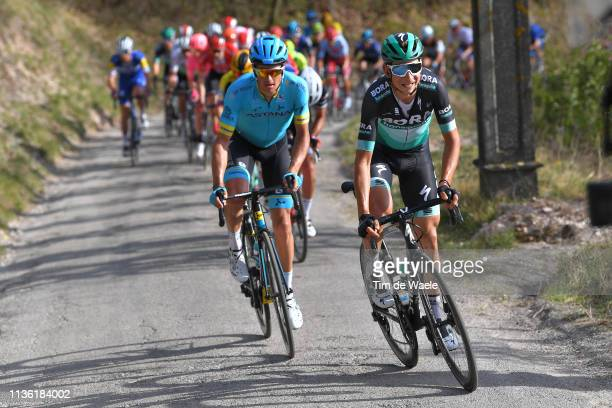 Davide Formolo of Italy and Team Bora - Hansgrohe / Jakob Fuglsang of Denmark and Astana Pro Team / during the 54th Tirreno-Adriatico 2019, Stage 4 a...