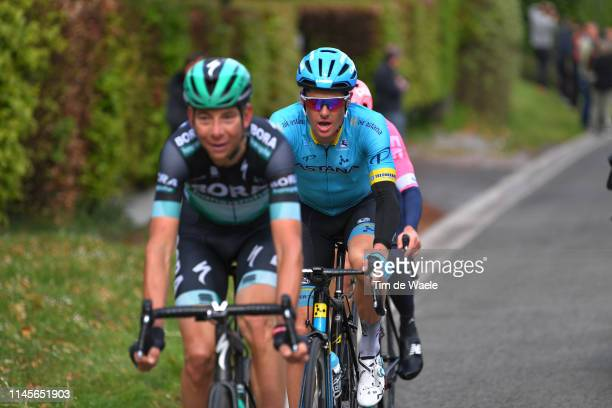 Davide Formolo of Italy and Team Bora-Hansgrohe / Jakob Fuglsang of Denmark and Astana Pro Team / Michael Woods of Canada and Team EF Education First...