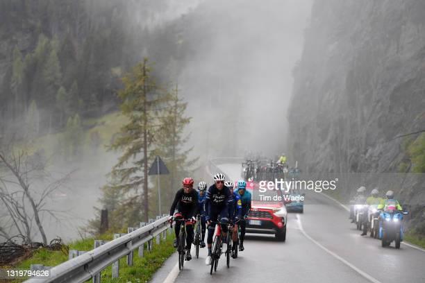 Davide Formolo of Italy and UAE Team Emirates, Joao Almeida of Portugal and Team Deceuninck - Quick-Step, Antonio Pedrero Lopez of Spain and Movistar...