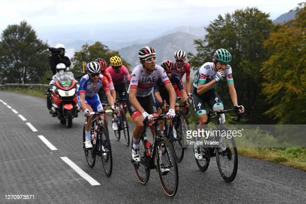 Davide Formolo of Italy and UAE Team Emirates / Lennard Kamna of Germany and Team Bora - Hansgrohe / Jonathan Castroviejo of Spain and Team INEOS...