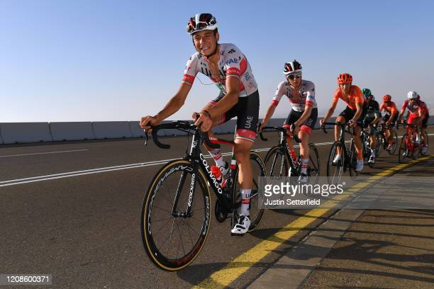 Davide Formolo of Italy and UAE Team Emirates / Tadej Pogacar of Slovenia and UAE Team Emirates / Ilnur Zakarin of Russia and CCC Team / Peloton /...