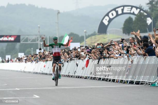 Davide Formolo of Italy finishes in second place during the Ready Steady Tokyo - Cycling , Tokyo 2020 Olympic Games test event at Fuji Speedway on...