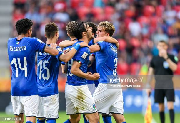 Davide Frattesi and Gabriele Gori of Italy celebrate scoring a goal during the FIFA U20 World Cup match between Italy and Mali on June 7 2019 in...